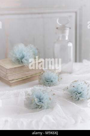 French romantic vintage decoration with tulle pom poms - Stock Photo