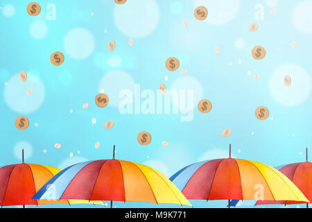Colorful umbrella with rainy gold coin. Monsoon sale concept - Stock Photo