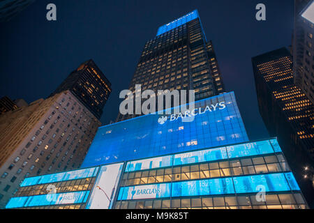 The former Lehman Brothers Global headquarters in New York, now Barclays Capital on Tuesday, March 20, 2018. (© Richard B. Levine) - Stock Photo