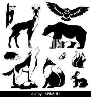 Set of woodland forest animals and birds. Stylized illustration - Stock Photo