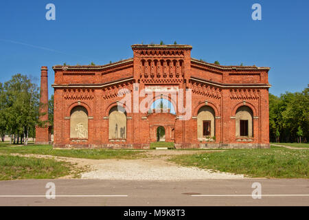 Remains of the brick stone naval port manege building, part of the old military Soviet base near Lieapaja, Latvia - Stock Photo