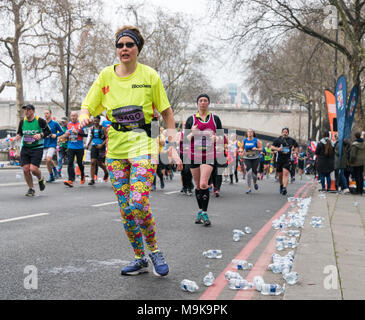 25 March 2018 - London, England. Brand new, closed road, central London half marathon taking in the City and all of the captial's landmarks. - Stock Photo