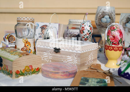 Decoupage technique. VIntage style. Shabby chic wooden boxes, glass jar and Easter egg - Stock Photo