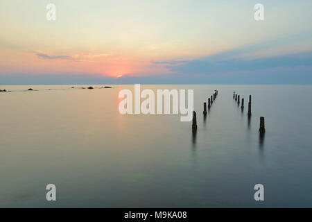 sunset, sea, water, beach, nature, coast, sky, background, blue, landscape, pier, ocean, horizon, seascape, old, wood, sand, wooden, outdoor, scene, p - Stock Photo