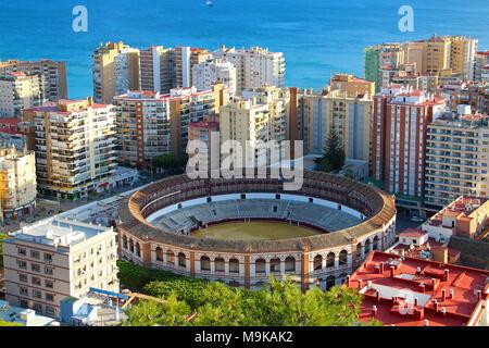 Aerial view of Malagueta district and bullring (Plaza de Toros La Malagueta), Malaga, Andalusia, Spain - Stock Photo