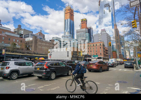 Hudson Yards development in New York seen from a traffic clogged 10th Avenue in the Chelsea neighborhood on Friday, March 23, 2018. (© Richard B. Levine) - Stock Photo