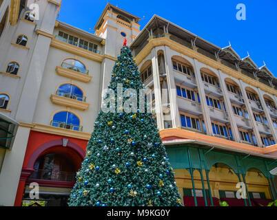 Port Louis, Mauritius - Jan 4, 2017. Christmas tree at the main square of Port Louis, Mauritius. - Stock Photo
