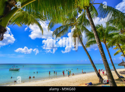 Trou-aux-Biches, Mauritius - Jan 4, 2017. Seascape of Trou-aux-Biches, Mauritius. Trou-aux-Biches is a small town with a public beach on the northern  - Stock Photo