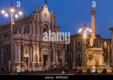 Piazza del Duomo square with the facade of the cathedral and the Elephant Fountain 'u Liotru', symbol of Catania, Sicily, Italy. - Stock Photo