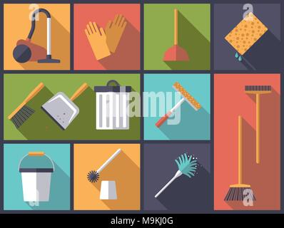 Horizontal flat design long shadow illustration with housework and cleaning symbols - Stock Photo