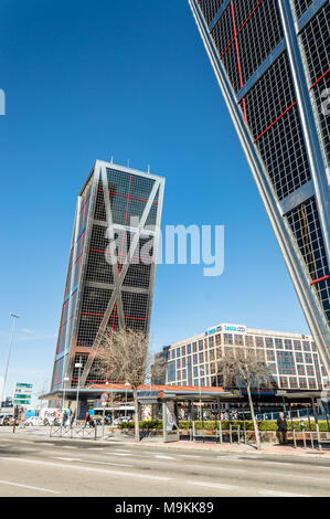 Madrid, Spain - March 26, 2018: KIO Towers office buildings in Madrid agaisnt blue sky - Stock Photo