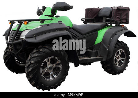 Modern ATV with bags for carrying luggage is isolated on white background. - Stock Photo