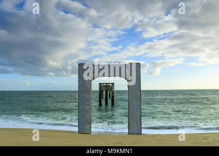 Davenport Abandoned Pier - Stock Photo