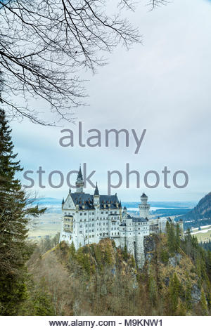 Neuschwanstein Castle, Schwangau, Ostallgäu, Schwaben district, Bavaria, Germany, Europe - Stock Photo