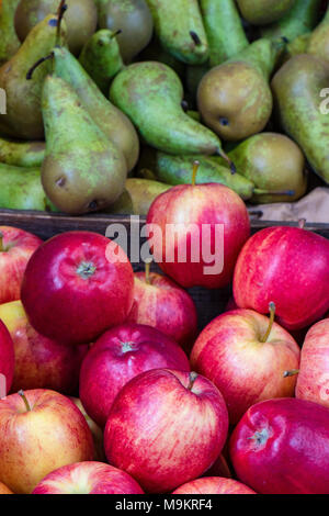 A selection of apples and pears Cockney rhyming slang for stairs on display at borough market in central london. Colourful fruit and vegetables stall. - Stock Photo