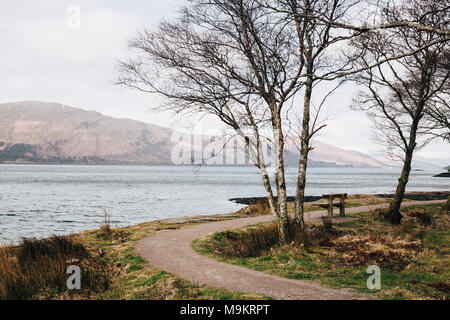 Empty wooden bench by Loch Eil, Fort William, Scotland, on a clear spring day. - Stock Photo