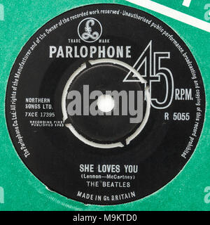 1963 original 45rpm single of 'She Loves You' by The Beatles (Parlophone R5055) - Stock Photo