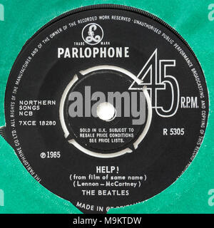 1965 original 45rpm single of 'Help!' by The Beatles (Parlophone R5305) - Stock Photo