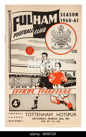 Programme of the football match between Fullham Football Club and Tottenham Hotspur on 25th March 1961 - Stock Photo