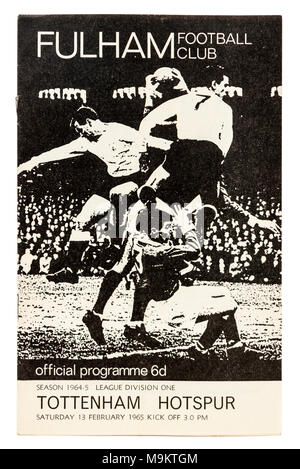 Programme of the football match between Fullham Football Club and Tottenham Hotspur on 13th February 1965 - Stock Photo