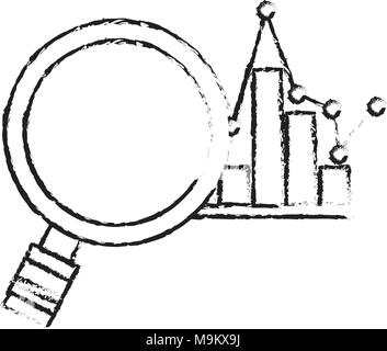 magnifier glass analysis bar graph statistic pointed line - Stock Photo