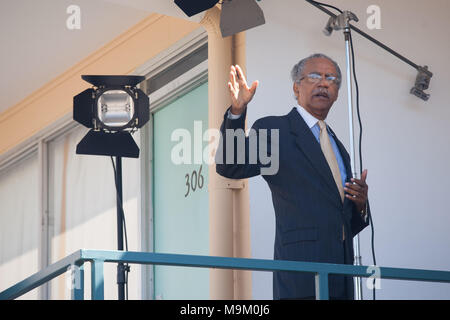 """Reverend Samuel """"Billy"""" Kyles, who was behind Rev. Martin Luther King Jr. when he was shot and killed, visits the National Civil Rights Museum. Stock Photo"""