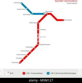 Nizhny Novgorod, Russian Federation Vector Metro Map. Rapid Transit System Scheme of Nizhny Novgorod. Subway Map, Underground Scheme. Current Status - - Stock Photo