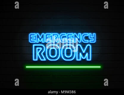 Emergency Room neon sign - Glowing Neon Sign on brickwall wall - 3D rendered royalty free stock illustration. - Stock Photo
