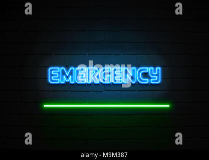 Emergency neon sign - Glowing Neon Sign on brickwall wall - 3D rendered royalty free stock illustration. - Stock Photo