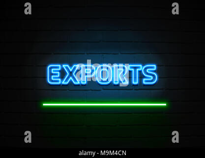 Exports neon sign - Glowing Neon Sign on brickwall wall - 3D rendered royalty free stock illustration. - Stock Photo