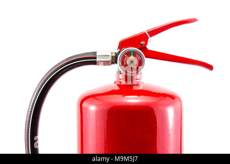 Tank fire red extinguishers isolated on white background. - Stock Photo