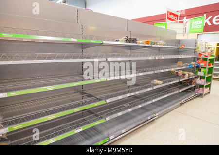 Empty Bread shelves after the Beast from the East caused panic buying. - Stock Photo