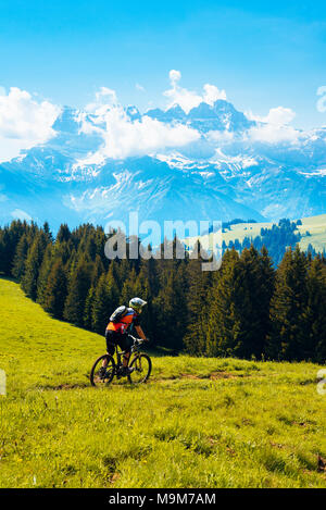 Rider participating in Pass'Portes du Soleil MTB 2016 mountain bike event, with view of the Dents du Midi - Stock Photo