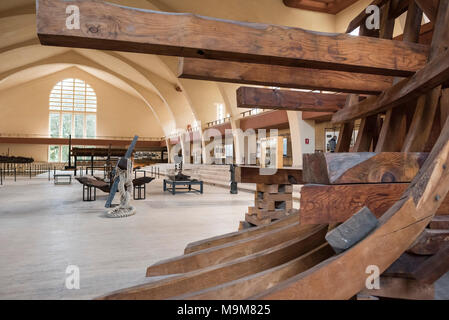 Nemi. Lazio. Italy. Museo delle navi romane di Nemi, (Museum of Ancient Roman Ships), displaying models of the remains of Roman Emperor Caligula's - Stock Photo