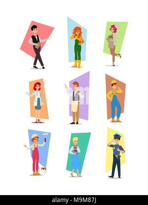cartoon flat-style vector illustration. Set of vector flat design illustrations isolated on white background. - Stock Photo