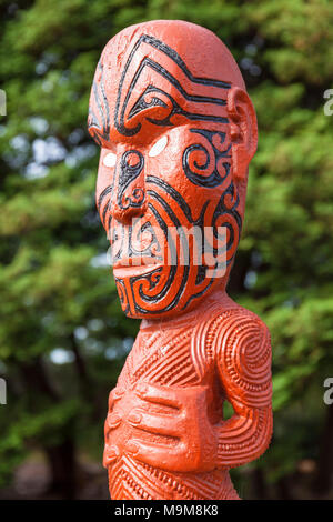 new zealand rotorua new zealand  maori carving facial tattoos maori tattoo face government gardens rotorua new zealand north island nz - Stock Photo