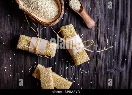 Sweet healthy sesame seed and honey bars - Stock Photo