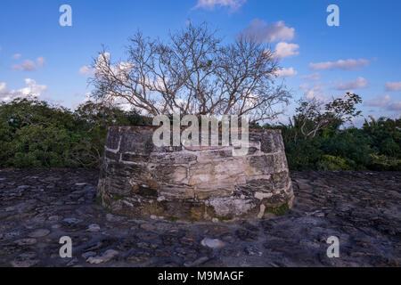 Ancient Mayan temple and ruins of Altun Ha, Belize - Stock Photo