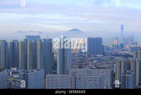 foggy cityscape in hong kong