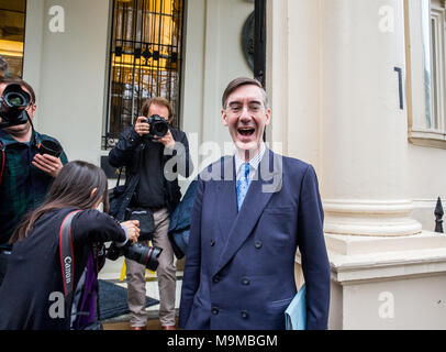 Jacob Rees-Mogg, arriving to speak at the 'Leave Means Leave' event in Central London with one full year to go. - Stock Photo