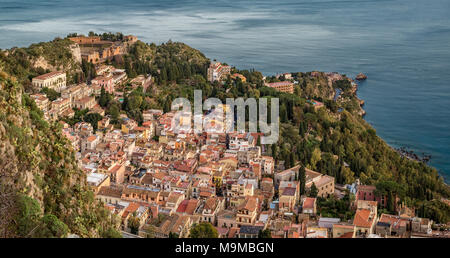 The village of Taormina viewed from Castelmola. Messina Province, Sicily, Italy. - Stock Photo