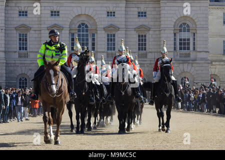 The Queens lifeguards of the household cavalry at horse guards parade ground - Stock Photo