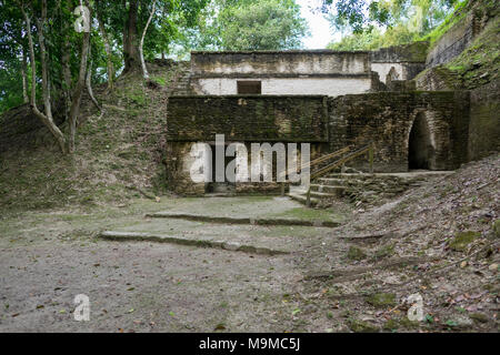 Ancient Mayan ruins of Cahel Pech, Belize including a temple and residential area - Stock Photo