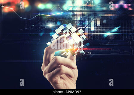 Innovation in the digital world. Hand holds abstract cubes. 3D Rendering - Stock Photo