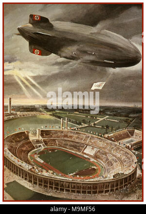 Hindenburg Zeppelin Airship Vintage Poster illustration of Nazi Hindenburg Zeppelin Airship flying Olympic Flag with Swastika Tail Fin over the Berlin Olympic Games Stadium during the opening ceremony of the Olympic Games. - Stock Photo
