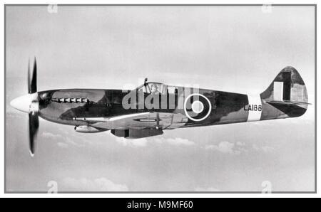 1940's RAF WW2 Supermarine Spitfire F. 21 LA188 during a flight in 1944. - Stock Photo