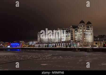 View across the harbor towards the government office in the city center of Oslo, Norway - Stock Photo