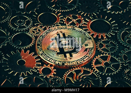 Golden bitcoin glowing in the middle of intricate cog wheels digital drawing. Crypto currency concept - Stock Photo