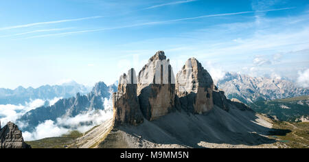 Northern walls of the Three Peaks of Lavaredo from the Paternkofel, Sexten Dolomites, South Tyrol, Trentino-South Tyrol - Stock Photo
