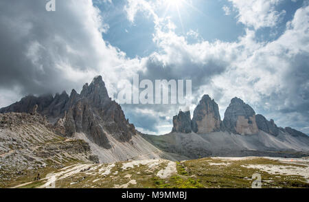Patternkofel and northern walls of the Three Peaks of Lavaredo, Sexten Dolomites, South Tyrol, Trentino-South Tyrol, Alto-Adige - Stock Photo